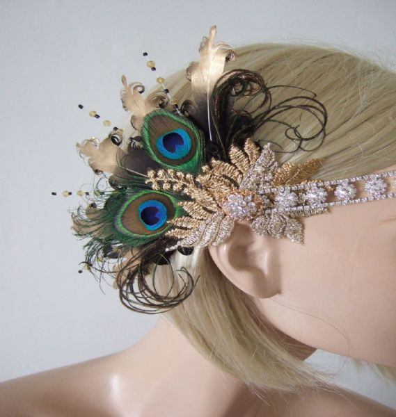 "Black Gold Silver Lace Green Peacock Feathers Crystal ""Zsa"" Headband 1920s Art Deco Gatsby Flapper"